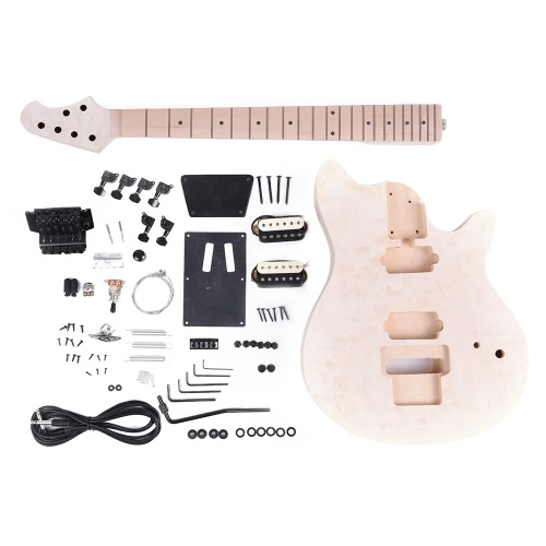 Unfinished DIY Electric Guitar Kit Basswood Body Fingerboard Maple Neck