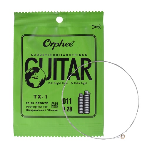 Buy Orphee TX-1 Single String Replacement Acoustic Folk Guitar 1st E-String (.011) 10-Pack High-carbon Steel Core 75/25 Phosphor Bronze Extra Light Tension