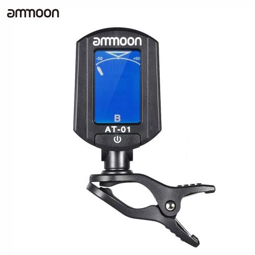 ammoon AT-01 Portable Mini Clip-on Digital Tuner Foldable & 360 Degree Rotating for Chromatic Guitar Bass Violin Ukulele