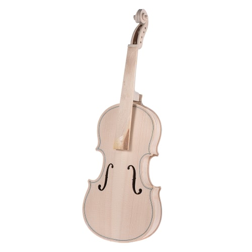 DIY 4/4 Full Size Natural Solid Wood Violin Fiddle Kit Spruce Top Maple Back Neck Fingerboard