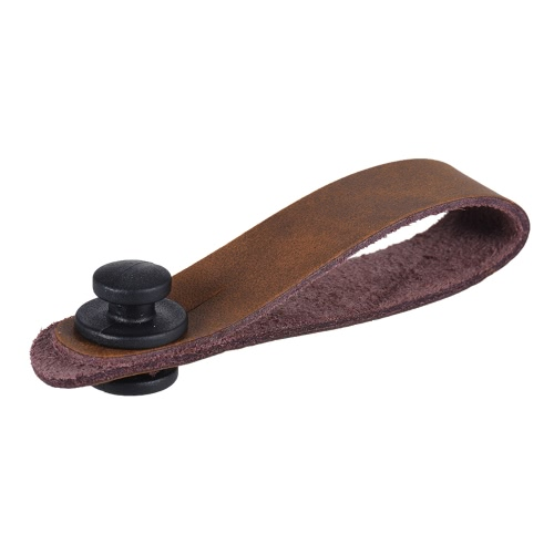 Music Instruments I2709 Leather Strap Button Headstock Tie Adaptor for Acoustic Electric Guitar Ukelele Bass Brown