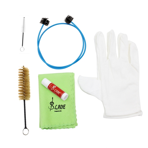 Brasswind Instrument Trumpet Trombone Tuba Horn Cleaning Set Kit Tool with Cleaning Cloth Brush Cork Grease Gloves от Tomtop.com INT