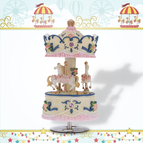 Laxury Windup 3-horse Carousel Music Box Artware/Gift Melody Castle in the Sky Pink/Purple/Blue/Gold Shade for Option от Tomtop.com INT