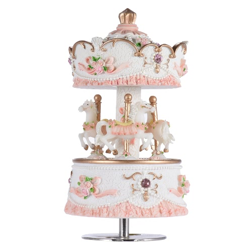 Laxury Windup 3-horse Carousel Music Box Creative Artware/Gift Melody Castle in the Sky Pink/Purple/Blue/Gold Shade for Option от Tomtop.com INT