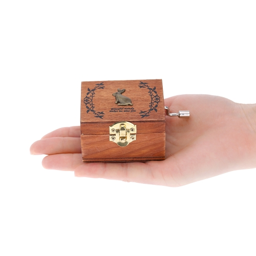 Retro Wooden Musical Box Hand Crank Music Box Exquisite Workmanship 4 Patterns for Option от Tomtop.com INT