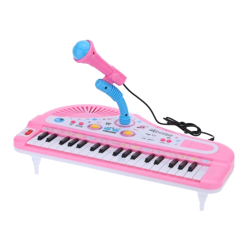 37 Keys Cartoon Mini Electronic Keyboard Music Toy with Microphone Educational Electone Gift for Children Kids Babies Beginners