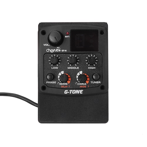 Cherub G-Tone GT-6 Acoustic Guitar Preamp Piezo Pickup 3-Band EQ Equalizer LCD Tuner with Reverb/Delay/Chorus/Wide Effects от Tomtop.com INT