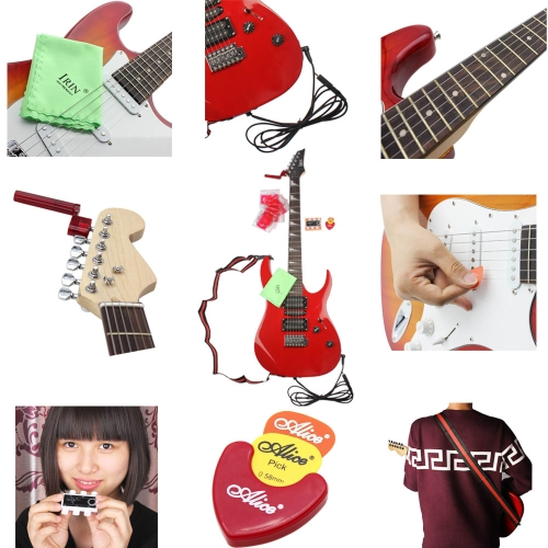 9-in-1 Electric Guitar Amp Accessory Set Kit with Cleaning Polish Cloth Guitar Strap String Winder Guitar Strings 3.5mm Male to 6.5mm Female Adapter Pitch Pipe Guitar Picks Plectrum Case Amp Cable