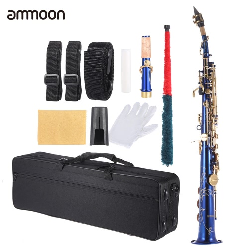 ammoon Brass Straight Soprano Sax Saxophone Bb B Flat Woodwind Instrument Natural Shell Key Carve Pattern with Carrying Case Glove