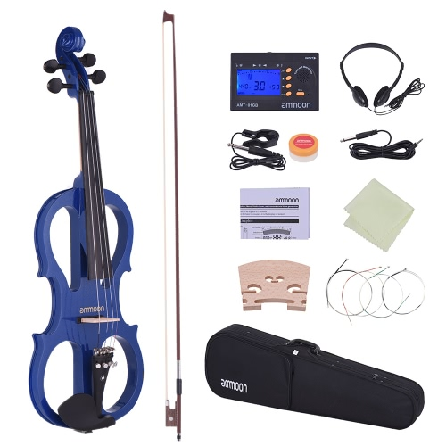 ammoon Full Size 4/4 Solid Wood Electric Silent Violin Fiddle Style-1 Ebony Fingerboard Pegs Chin Rest Tailpiece with Bow Hard Case Tuner Headphones Rosin Extra Strings & Bridge