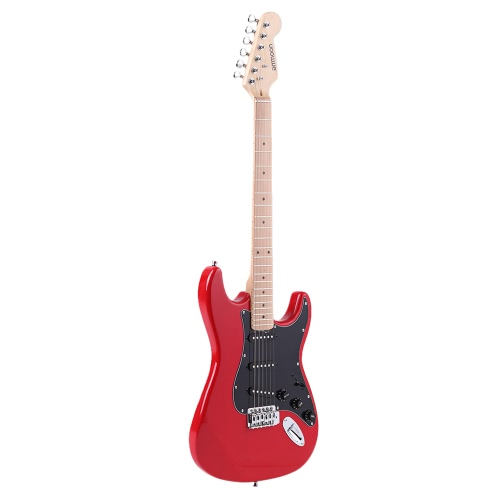 ammoon 38 Electric Guitar Solid Wood Basswood Body Maple Neck 22 Frets 6 String with Pickguard 6.35mm Cable