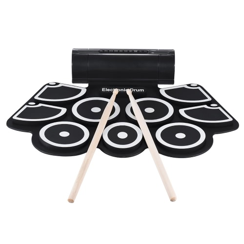 Buy Portable Electronic Roll Drum Pad Set 9 Silicon Pads Built-in Speakers Drumsticks Foot Pedals USB 3.5mm Audio Cable