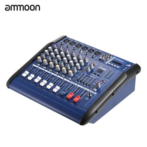 Buy ammoon 6 Channels Digital Mic Line Audio Mixing Console Power Mixer Amplifier 48V Phantom USB/ SD Slot Recording DJ Stage Karaoke