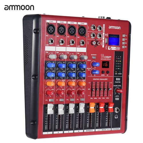 Buy ammoon Digital Bluetooth 4-Channel Mic Line Audio Mixer Mixing Console 2-band EQ 48V Phantom Power USB Interface Recording DJ Stage Karaoke Music Appreciation