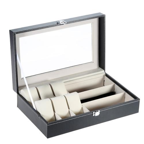 Buy PU Leather 6 Grid 3 Sunglass Watch Display Box Case Storage Organizer Pillows