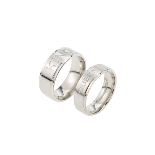 Buy Romantic KING Ring QUEEN Lovers Couple Rings Fashion Gifts Love Stainless Steel