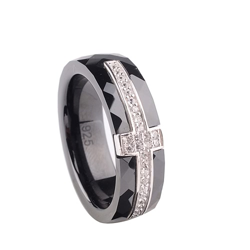 Buy Polished Nano Ceramic Cross S925 Sterling Silver & CZ Diamond Embedded White Gold Electroplated Ring
