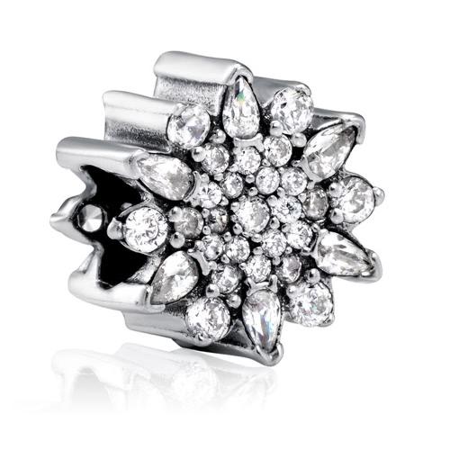 Buy Romacci S925 Sterling Silver Vintage Flower Charm Bead Shining CZ Diamond 3mm Bracelet Bangle DIY Fashion Women Jewelry Accessory