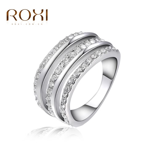 Buy ROXI Classic Fashion Women Bride Wedding Austrian Crystal Ring White Gold Plated Engagement Jewelry Accessory Gift