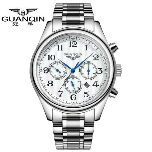GUANQIN 2016 Fashion Men's Luxury Quartz Watches Classic Leather Strap Watch Hours Clock Male Wristwatch for Men