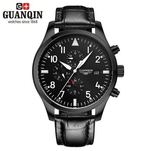 Buy GUANQIN Brand Fashion Luminous Automatic Men Mechanical Wristwatch Leather Waterproof Sports Military Male Casual Watch