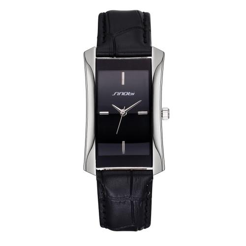 Buy SINOBI 2016 Brand Fashion Ladies Gold/Silver Rectangle Quartz Leather Strap Watches Women Lady Dress Business Casual Watch