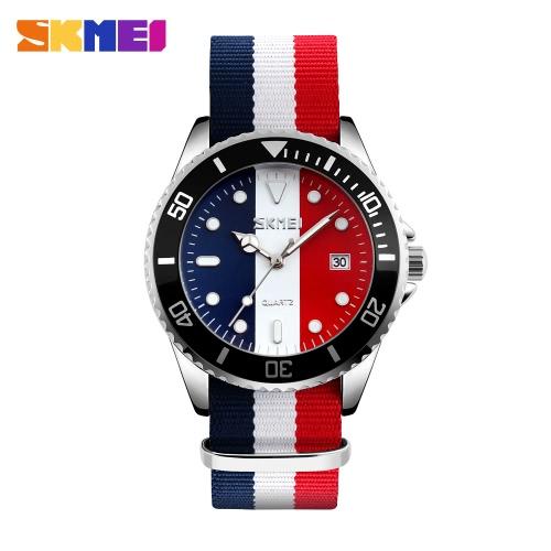 Buy SKMEI Brand Fashion England Style Nylon Strap Men & Women Casual Wristwatch Quartz Water-proof Lover's Watches Dress Watch Calendar Feminio Masculino Relogio