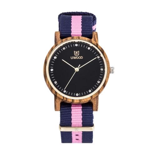 Buy UWOOD Brand Luxury Diamond Luminous Ladies Wood Watches Nylon Strap Quartz Fashion Wooden Women Casual Wristwatch Clock Feminio Relogio