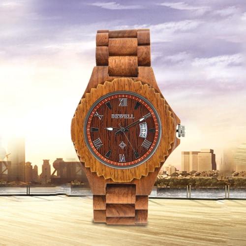 Buy BEWELL 2017 New Luminous Quartz Men Wooden Watches Luxury Fashion Casual Man Wood Wristwatch Calendar + Watch Box Masculino Relogio