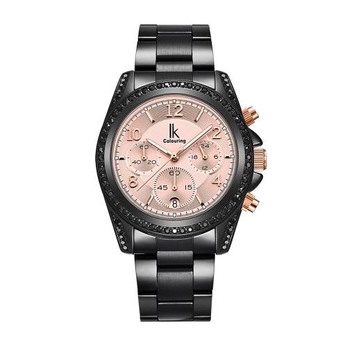 Buy IK COLOURING 2017 Luxury Brand Stainless Steel/Genuine Leather Women Watches Quartz Analog Diamond Water-Proof Ladies Casual Dress Wristwatch + Box