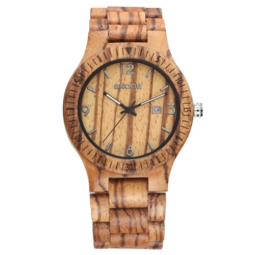 SKONE New Fashion Excellent Luminous Natural Wood Watch for Men Quartz Analog Vintage Man Wooden Casual Wristwatch Best Gift