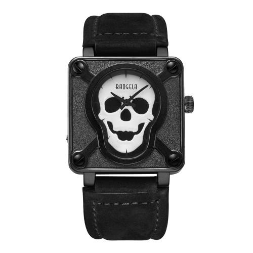 Buy BAOGELA Fashion Luxury Luminous Priate Skull Men Watch Genuine Leather Analog 30M Water-Proof Man Casual Wristwatch Masculino Relogio + Box