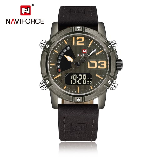 Buy NAVIFORCE New Dual Display Quartz Digital Men Sports Watch Leather Strap Backlight Water-Proof Man Casual Wristwatch Chrono Military + Box