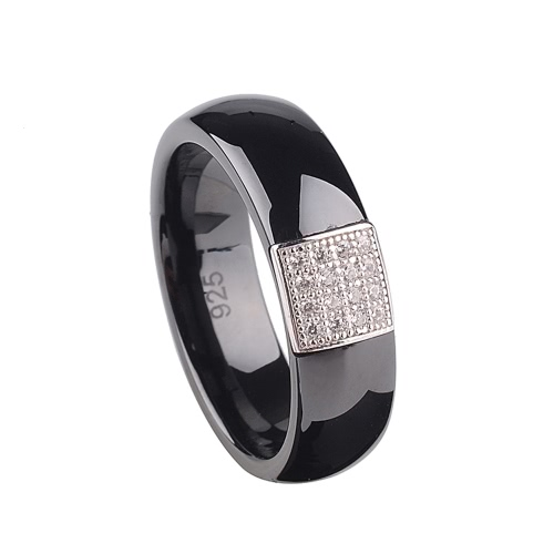 Buy Nano Ceramic & S925 Sterling Silver Dome Polished CZ Diamond Embedded White Gold Electroplated Ring