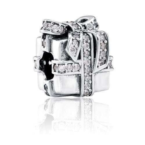 Buy Romacci S925 Sterling Silver Gift Bag Bead Shining CZ Diamond 3mm Lucky Charm Bracelet DIY Fine Women Jewelry Accessory