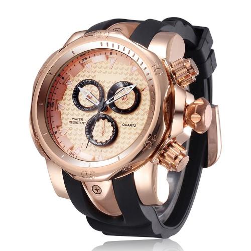 Buy SHHORS Brand New Luxury Men's Watches Casual Silicone Man Watch Decoration 3 Dial Quartz Wristwatch