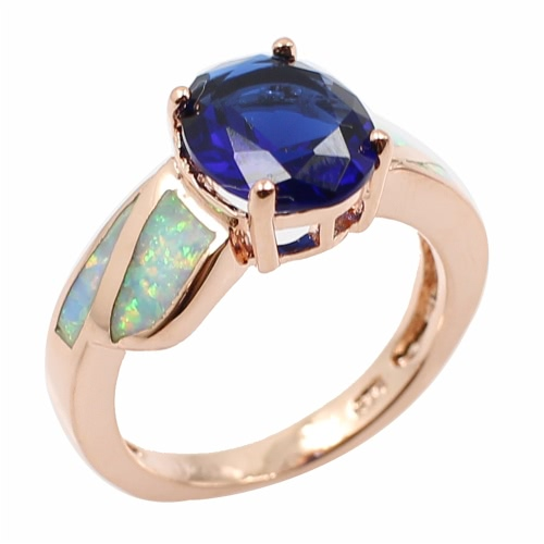 Fashion CZ Diamond Simulated Opal 925 Sterling Silver Ring Women Girl Wedding Engagement Jewelry Accessory