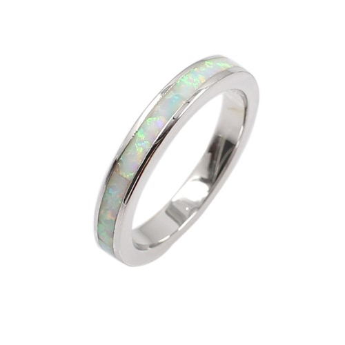 Buy Classic Fashion 3.5mm Stackable 925 Sterling Silver Simulated Opal Band Ring Women Bridal Wedding Engagement Love Jewelry
