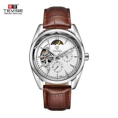 Buy TEVISE Moon Phase Fully Automatic Mechanical Watches Man Top Brand Luxury Watch Self-winding Trendy Business Style Hollow Wristwatch
