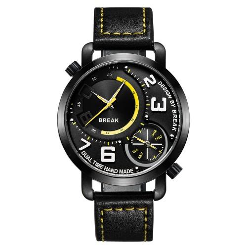 Buy BREAK Fashion Innovative Dual Time Display Quartz Men Watches Luxury PU Leather 30M Water-Proof Man Casual Wristwatch Best Gift + Box
