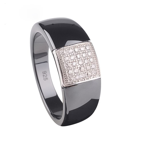 Buy Polished Nano Ceramic S925 Sterling Silver & CZ Diamond Embedded White Gold Electroplated Dome Ring
