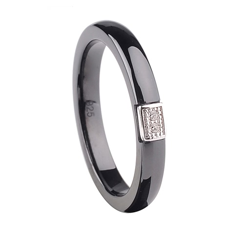 Buy Polished Nano Ceramic S925 Sterling Silver & CZ Diamond Embedded White Gold Electroplated Ring