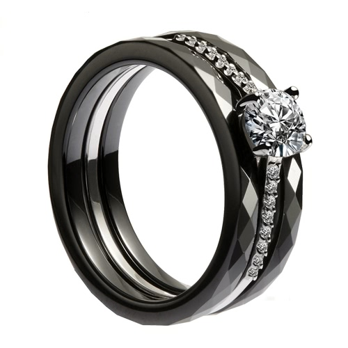 Buy Nano Ceramic & S925 Sterling Silver CZ Diamond Embedded White Gold Electroplated Polished Ring
