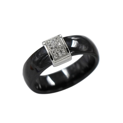 Buy Nano Ceramic & S925 Sterling Silver Polished CZ Diamond Embedded White Gold Electroplated Dome Ring