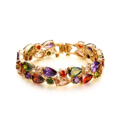 Buy Fashion New Unique Colorful Zircon Rhinestone Crystal Gold Plated Bracelet Bangle Woman Girl Wedding Gift Party