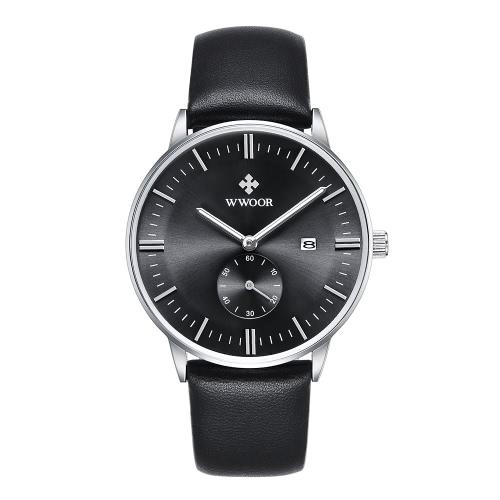 Buy WWOOR Brand Fashion Luminous Genuine Leather Man Watches Calendar Quartz Elegant Casual Wristwatch Water-proof Watch + Storage Box