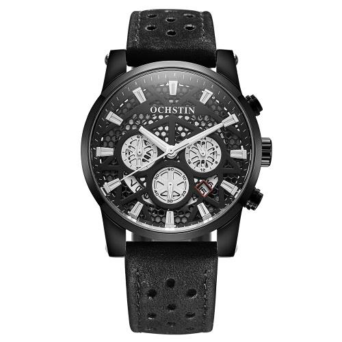 Buy OCHSTIN 2017 Brand Luxury Genuine Leather Quartz Skeleton Men Watches Luminous Water-Proof Man Casual Wristwatch Calendar + Box