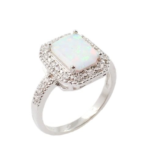 925 Sterling Silver Fashion CZ Diamond Square Cubic Simulated Opal Ring Women Girl Wedding Engagement Jewelry