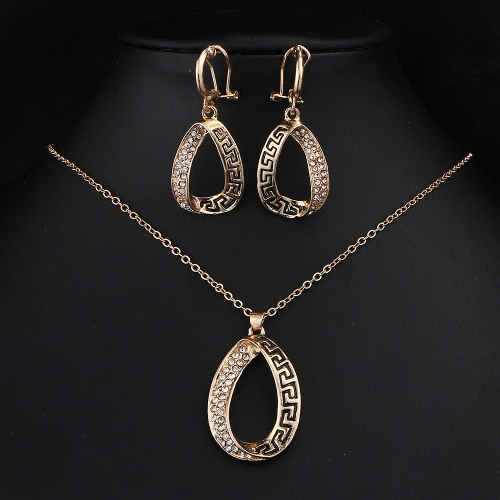 Buy Hot Selling Fashion Charm New Jewelry Retro Rose Gold Necklace Earrings Water Drop Tear Pendant Suit Set Gift Wedding Party Alloy Rhinestone Crystal