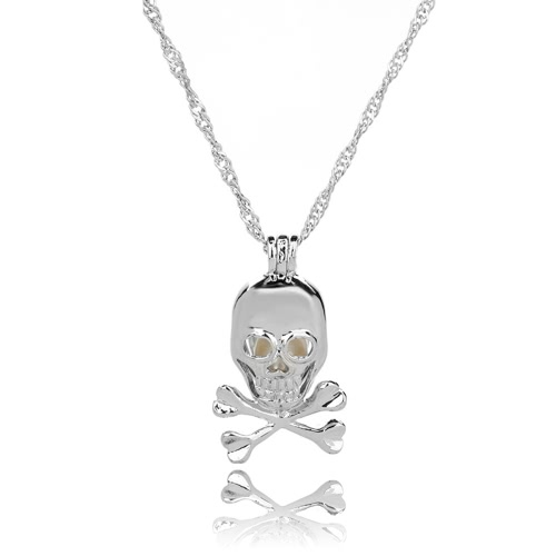 Buy Fashion Retro Luminous Bead Hollow Skull Pendant Necklace Women Personality Jewelry Gift